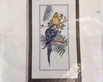 Vintage Needle Treasures Counted Cross Stitch Tropical Birds Parrots J A Dewitt