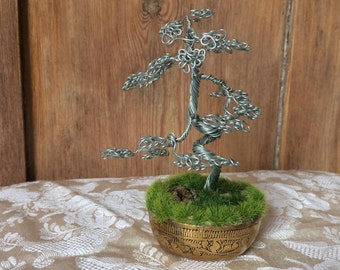 Silver Twisted-Trunk Wire Bonsai Tree Sculpture in Ornate Brass Pot