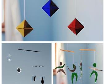 Munari, Octahedron, The Dancers mobile. Set of 3  montessori mobiles.  Classic Montessori mobiles. Essential Montessori mobiles. Nursery toy