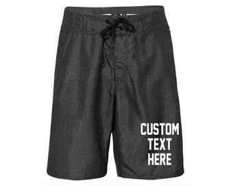 CUSTOM TEXT Men's Swim Shorts- Design Your Own Mens Board Shorts- Mens Swim Trunks with Custom Text- Personalize Your Own Mens Swim Shorts