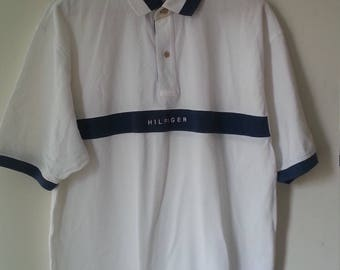 Vintage Tommy Hilfiger White and Blue Polo Shirt Size Large 90s