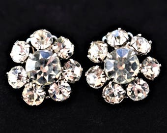 """Vintage Weiss Rhinestone Cluster Earrings Clip On Signed Mid Century Formal Bride Bridal Wedding Costume Jewelry 3/4"""""""