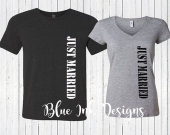 Just Married Shirts, Honeymoon Shirts, Wedding Shirts, Just Married Military Shirts, Hubby Wifey Shirts, Newlywed Shirts, HW01