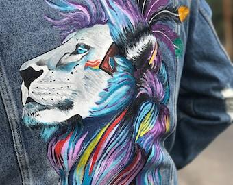 Hand painted denim jacket. Lion