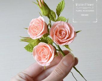 Rose hair pin Summer Wedding Hair Pins Peach wedding romantic flower gift Bridal hair pin Woodland wedding floral Bridal Accessories Roses