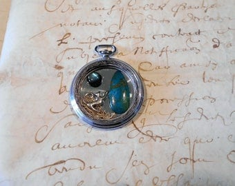 Steampunk vintage Watch: pets chrisoprase and labradorite Cabochon...
