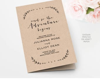 Wedding Program Template, Printable Order of Service, Folded, So the Adventure Begins, INSTANT DOWNLOAD, Editable Template  #031-113WP