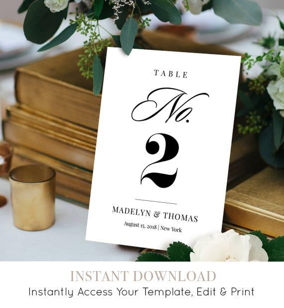 Table Number Card Template, Printable Wedding Table Number, DIY Reception Table Card, 100% Editable, Instant Download, Digital #NC-101TC