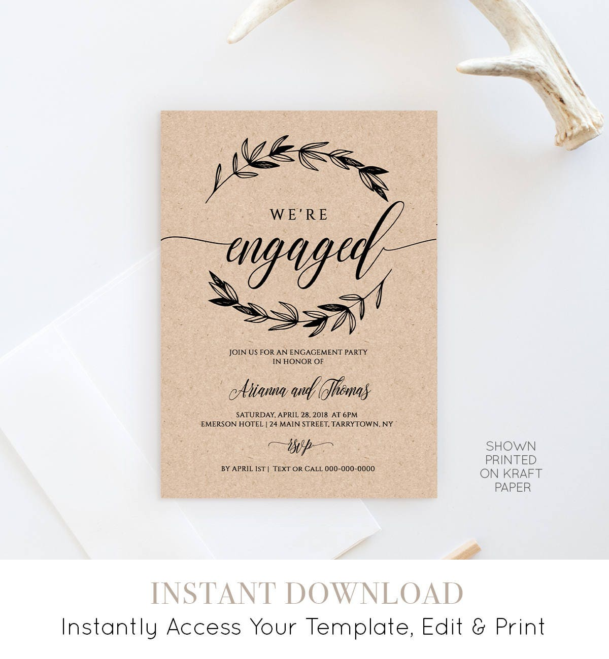 Printable engagement party invitation template rustic wedding printable engagement party invitation template rustic wedding engagement announcement 100 editable instant download diy 023 101ep stopboris Gallery