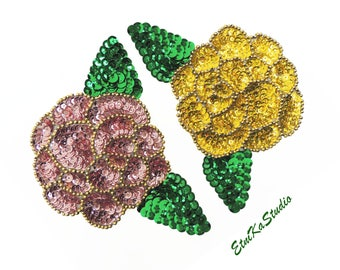 FLOWER Sequin Applique Patch, embellishment, yellow or pale pink, large flowers