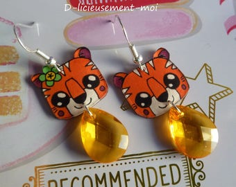 Sterling silver earrings 925 kawaii plastic Tiger crazy mad and orange faceted Teardrop bead