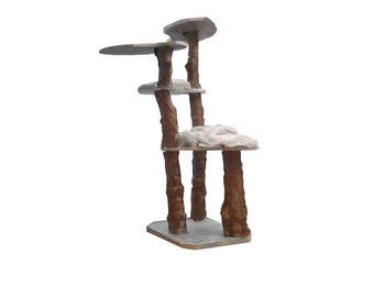 "74"" Eco Natural Cat Tree w/ real wood logs Modern Cat Activity Furniture - custom sizes & colors available- quick shipping"