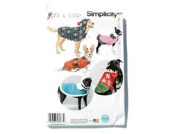 2000 Sewing Pattern - Simplicity 8277 - Dog Coat Sweater Hat