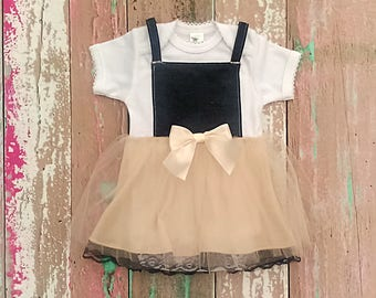 Baby Girl Dress, Denim Tutu Dress, Rustic Infant Flower Girl Dress, Jean & Tulle Baby Dress, Cowgirl Pageant Outfit, Country Baby Overalls
