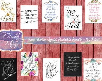 Jane Austen Printables Bundle, Jane Austen Quotes, Pride and Prejudice Quotes, Book Lover Gifts, Printable Art Bundle, Literary Quote Print