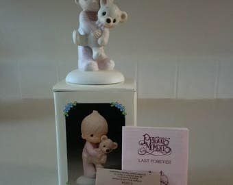 """Precious Moments """"Jesus Loves Me"""" Boy with Teddy Figurine with Original Box and Paperwork"""