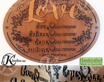Wooden Wall Art, Love bears believes hopes endures all things, 1 Corinthians 13:7, Inspirational Quote, inspirational gift, home sign decor