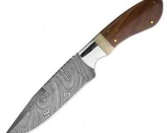 Custom Handmade Damascus Fixed Blade Hunting Knife with Leather Sheath (Walnut wood/Bone Handle)
