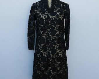 0797 - Vintage -  Black Dalia Dress