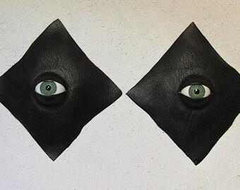 Black Leather Eyeball Pasties