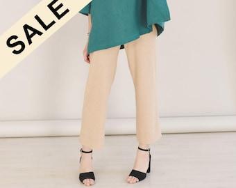 SALE, Organic cotton straight-leg pants, Summer pants, brown trousers, knit pants, organic cotton pants, sustainable clothing, summer pants