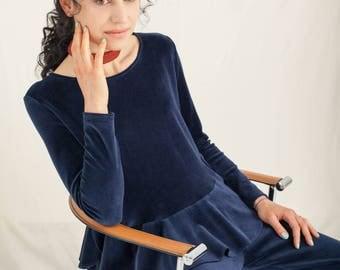 Navy organic cotton velour top with ruffles / Blue velvet top / Women winter top / Velvet clothing / Womens Clothing / Navy Blue Top