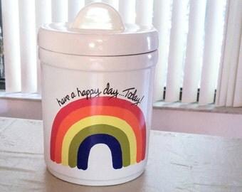 Retro Rainbow Canister Have A Happy Day Today 1970s Storage Jar USA Ceramic Rainbow Cookie Jar Vintage Kitchen Decor Home decor