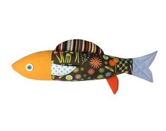 Mushroom. Sardine. Fish. Cushion. Design. Made in Quebec. Montreal. Catherine Bouchard