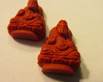Mini Red Cinnabar Charms of Kwan Yin, the Goddess of Mercy, 17mm, Set of 2