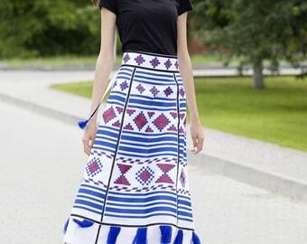 Midi skirt Ukrainian embroidered white linen skirt Vyshyvanka skirt in boho style Mexican embroidery Free shipping