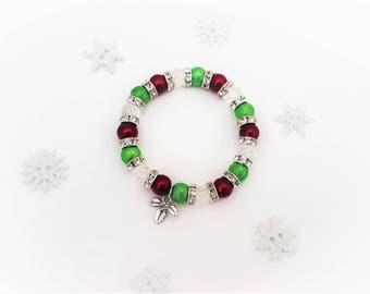 Holly Bracelet, Christmas Bracelet, Winter Jewelry, Festive Jewellery, Kids Holly, Gift For Her, Christmas Charm, Christmas Day, Holly Charm