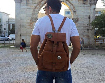 Backpack Men Leather, Knapsack, Leather Rucksack, Office Bag, Made in Greece from Full Grain Leather, EXTRA LARGE.