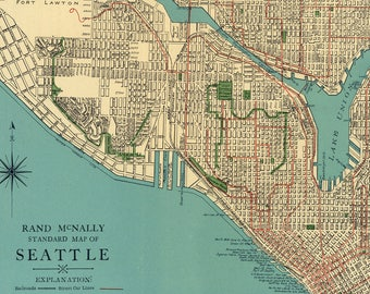 Vintage 1920's Seattle STREET MAP - City of Seattle Washington - Instant Download Digital Printable Map.US map wall decor.