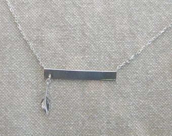 "Choker with silver ""plated feather"""
