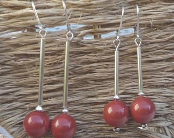 """Long Silver earrings """"Cherry"""""""