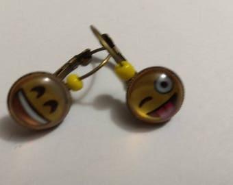 very happy smiley, bronze metal cabochon earrings