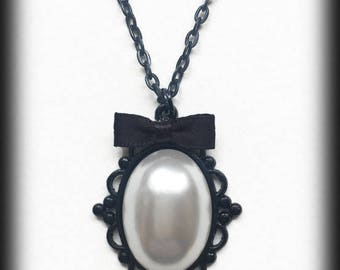 Victorian Pearl Necklace, Gothic Victorian Pearl Cabochon Pendant, Alternative Jewelry, Gothic Gift, Gothic Jewelry, Handmade Necklace