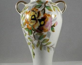 Vintage vase, Gold trimmed vase, UCAGO Japanese vase, Oriental vintage vase, Pansy flower vase, Tiger flower vase, Asian decor, Shabby chic
