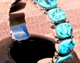 Vintage Navajo Kingman Turquoise Sterling Silver Row Bracelet Touchine