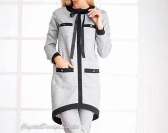 Gray cardigan womens Asymmetric cardigan Long sleeve Bohemian cardigan Womens sweater Holiday womens cardigan Warm sweater Elegant cardigan
