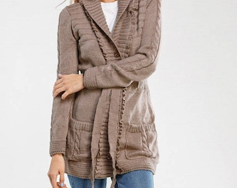Oversized knit cardigan Brown Short knitted cardigan wool Chunky Kimono cardigan Womens cardigan Long sleeve cardigan Gift for her