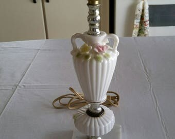 antique white porcelain table / desk electric ceramic lamp w/ applied roses flowers & marble base - yellow pink vintage victorian art deco