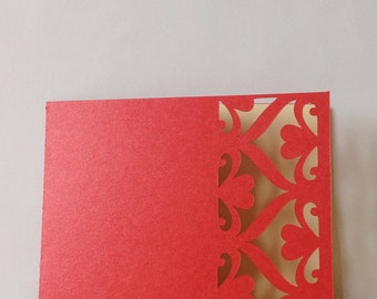 Red and ivory heart wedding invitation