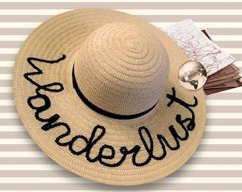 Wanderlust Beach Hat | Travel Hat | Wanderlust Gift | Wanderluster | Personalized Gift | Sequin Beach Hat | Custom Sequin Hat | Gift For Her