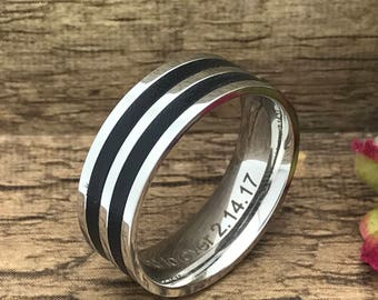 8mm Stainless Steel Wedding Ring, Personalized Custom Engrave Stainless Steel Ring,Flat Band, Father's Day Gift-SSR454