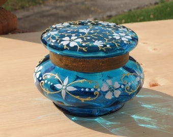 Antique Moser Style Czechoslovakia Bohemian Enamel Hand Painted Teal Blue Dresser Box/Jar in Floral Motif