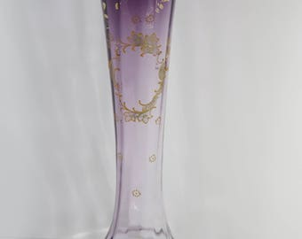 Antique Moser Glass Bohemian Hand Decorated Fluted Blush Purple Vase Trimmed in Gilt and Enamel Ornamentation