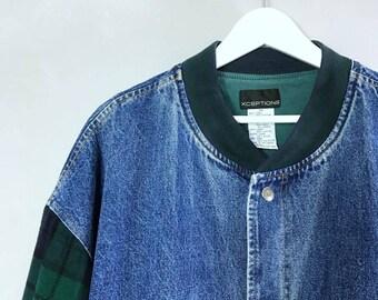 XCEPTIONS • Wool mix jeans jacket • 3XL • Denim jacket • Vintage 80s jacket •