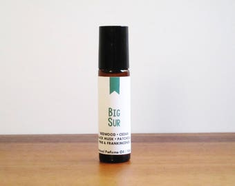 BIG SUR / Redwood Cedar Black Musk Patchouli Pine & Frankincense / Book Inspired / Beat Classics Collection / Roll-On Perfume Oil