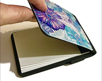 Butterflies & Flowers Note Pad in Pale Lilac, Pastel Blue and Turquoise - Silk Painting Print Pocket Notepad - Refillable Notebook Cover